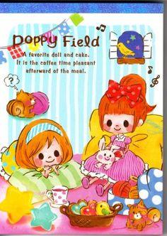 Q-Lia Japan Poppy Field Memo Pad Kawaii