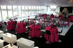 Lounge Groupings and Decor. Hot Pink. Black and White
