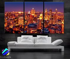 "LARGE 30""x 60"" 3Panels Art Canvas Print Montreal Canada City skyline night Wall Home decor (framed 1.5"" depth)"