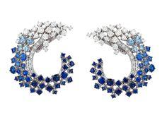 Stefan Hafner Sapphire and Diamond Earrings.