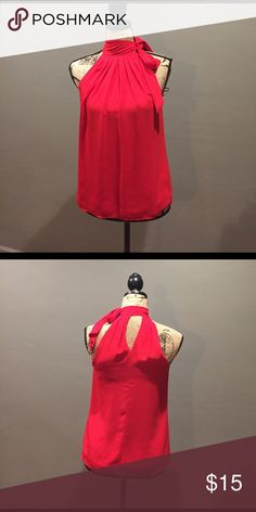 Hot Red Blouse Tie neck Blouse. Lining provides some stretch. Express Tops Blouses