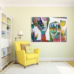 Grandes láminas blanco amarillo y azul pintura lona por MirnaSisul