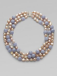 Harrison Morgan Blue Chalcedony, Pink Freshwater Pearl & Sterling Silver Necklace