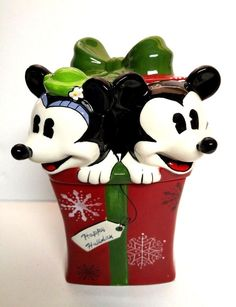 Disney Mickey Minnie Mouse Cookie Jar Treat Classic Gift Present Christmas Snow