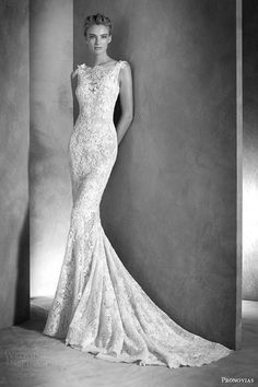 atelier pronovias 2016 haute couture bridal ilari sleeveless lace guipure gemstone mermaid wedding dress -- Atelier Pronovias 2016 Haute Couture Wedding Dresses
