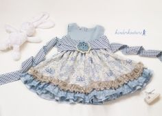 Girls handmade Easter dress - Blue April Dress Available in limited quantities at Kinder Kouture Clothing. http://kinderkoutureclothing.com