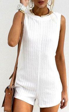 white knit romper