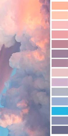 Beautiful and oversized color palette full of sky hues Beautiful and oversized color palette full of Color Schemes Colour Palettes, Pastel Colour Palette, Hue Color, Colour Pallette, Pastel Colors, Color Combos, Colours, Sunset Color Palette, Purple Color Schemes