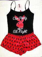 bcbdef580ae24 NWT PLAYBOY Bunny Head Silky Black   Red Pajama Set Tank Top   Shorts S-L  Red