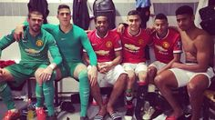Victor Valdes, Joel Castro Pereira, Anderson, Andreas Pereira, Jesse Lingard and Saidy Janko celebrate United's win Manchester United 2014, Jesse Lingard, Red Army, Man United, Goalkeeper, Liverpool, Soccer, The Unit, Football