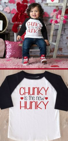 """Adorable Boy's Valentine's Tee Shirt """"Chunky is the New Hunky"""" Toddler Valentine Shirts, Valentines Outfits, Valentines For Boys, Valentines Day Shirts, Baby Boy Valentine Outfit, Valentine Ideas, Trendy Baby Clothes, Diy Clothes, Vinyl Shirts"""