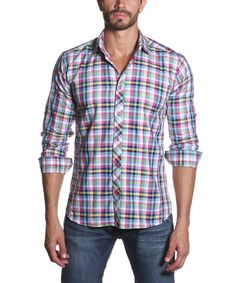 Jared Lang Neon Plaid Button-Up