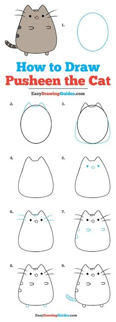 Learn to draw Pusheen the Cat. This step-by-step tutorial makes it easy. Kids and beginners alike can now draw a great looking Pusheen. drawing s How to Draw Pusheen the Cat - Really Easy Drawing Tutorial Cute Easy Drawings, Kawaii Drawings, Doodle Drawings, Drawing Sketches, Easy Cat Drawing, Drawing Tips, Easy Drawing For Kids, Drawing Ideas Kids, Cat Doodle