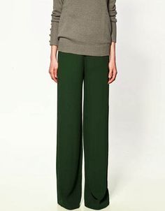 zara green trousers
