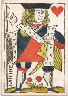 Gouache rendering for French playing cards, circa Wolfthing's private collection. Paper Design, Design Art, Custom Playing Cards, Poker Face, King Of Hearts, Tarot Cards, Gouache, Illustrations, French