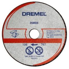 Dremel DSM510 (Dia)20mm Cutting Disc Dremel DSM510 (Dia)20mm Cutting Disc.This Dremel DSM510 abrasive cutting disc is suitable for suitable for cutting metal and plastic. Its compatible with use with DSM20 compact saw. Its 145mm wide 20m http://www.MightGet.com/april-2017-1/dremel-dsm510-dia-20mm-cutting-disc.asp