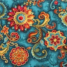 teal and gold flower medallions glitter fabric by Timeless Treasures 1 Teal Fabric, Orange Fabric, Glitter Fabric, Floral Fabric, Fabric Flowers, Folk Art Flowers, Gold Flowers, Flower Art, Painted Flowers