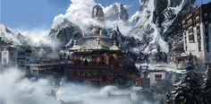 Temple in the air, huo shuai on ArtStation at https://www.artstation.com/artwork/temple-in-the-air