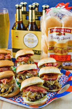 BACON & GRUYERE SLIDERS WITH BEER CARAMELIZED ONIONS Recipe. The flavors of these sliders come together to make a perfect meal for a crowd, including your gameday needs. You cannot beat the combo of the Sweet and Soft Sliders from Pepperidge Farm and Warsteiner Pilsner beer. #beerandbuns