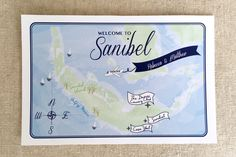 Illustrated Sanibel Map Welcome Bag - Dana Marino Design - Weddings - Sanibel Florida - danamarinodesign.com