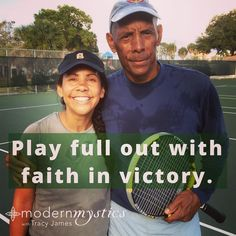 I love tennis. This is a pic of me and my Dad after a match. I learn so many profound life lessons on the tennis court. Last night I was in a lesson and my coach said Tracy youve gotta have more faith. I was so surprised when he said that because I consider myself someone who really focusses on having faith and practices that way of living. Look how youre hitting he said its like you dont fully believe the ball is going to land inside the line after youve hit it. Youre waiting to see if its…