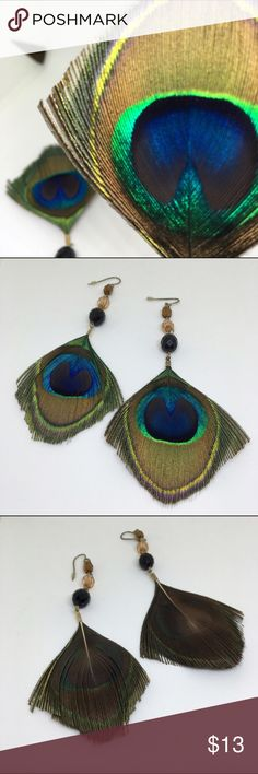 Vibrant Peacock Earrings Vibrant peacock feather styled dangle earrings. Has a vintage rustic look with beads on top, fish hook back. Dangles down to a length of 4.75 inches. Questions welcomed Urban Outfitters Jewelry Earrings