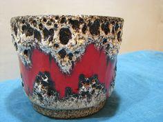 Fat Lava Planter – Scheurich No. 806-14 – Thick Lava Crust – 1960s 1970s Vintage German Pottery WGP – Mid Century – Red Black White von everglaze auf Etsy