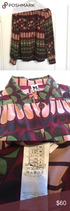 """Silk Missoni Blouse Made of 100% silk, this beautiful Missoni Blouse can't be beat! Beautiful design, high quality construction with """"M"""" on all the buttons, and only worn 3 times. Check out my closet for more Missoni listings! Missoni Tops Blouses"""