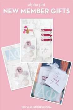 Create the perfect Bid Day gift pack for your Alpha Phi new members! Choose from three gift bag options: Newbie Love, Pref Present or Spoiled. Alpha Phi Gifts   Alpha Phi Bid Day   APhi New Member Gifts   APhi Rush Gift Bags   Alpha Phi Recruitment   Sorority Bid Day   Sorority Recruitment   Bid Day Bags   Sorority New Member Gift Ideas #BidDayGifts #SororityRecruitment