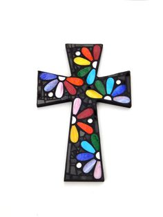 """Large Mosaic Wall Cross, Rainbow Floral Design, """"Daisies"""", Multicolored/Bright Handmade Stained Glass Mosaic 15"""" x 10"""" by GreenBananaMosaicCo                                                                                                                                                      Más"""