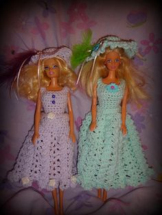 """Here Is My Pattern For """"Easter Lilac Dress"""" Fits Barbie dolls. Pattern is for the """"Lilac"""" Colored Dress and Hat in picturess."""