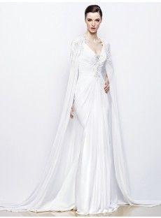 V Neck Court Train Satin Sheath Column Wedding Dress