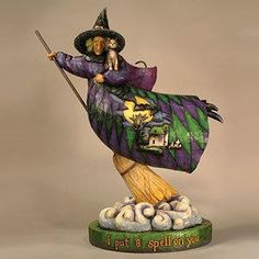 Jim shore  | Jim Shore - Halloween Witch on Broom and Cloud Figurine - ONLY ONE ...