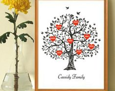 Personalizzate stampa artistica di albero genealogico, albero genealogico Wall Art, regalo per la nonna, regalo di anniversario