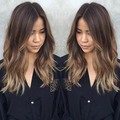 Med brown with caramel and dark blonde bayalage.