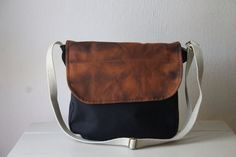 Messenger Cross Body Bag. Canvas Shoulder Purse. black + rust discharge dyed. eco friendly. by blissjoybull