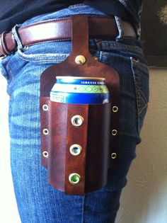 Handmade Leather Beer Holster by QuietLeather