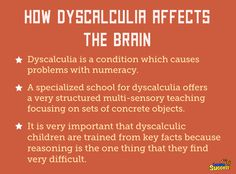 Trouble with math could be dyscalculia, which causes problems processing simple math concepts.
