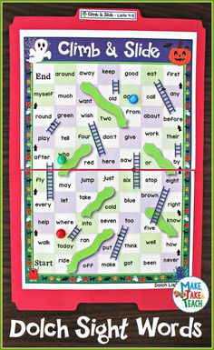 Climb and Slide Halloween Dolch Sight Word Game Boards