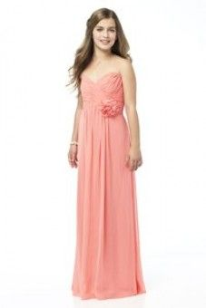Dessy is the Junior version of style Full length strapless lux chiffon dress w/ shirred bodice and matching flower detail at waist. Sizes available: and Extra Length. Shown in color firecracker. Neutral Bridesmaid Dresses, Junior Bridesmaid Dresses, Wedding Dresses, Bridesmaid Ideas, Junior Party Dresses, Girls Party Dress, Chiffon Dress, Strapless Dress Formal, Lace Dress