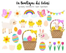 Easter Clipart, Cute Graphics PNG, Spring Animals Clip art, Egg hunt, bunny, lamb, chicks, easter egg basket, daffodils and tulips Scrapbook Illustrations for Small Commercial Use  Ideal for planner stickers, printable stickers party decorations, cards, banners, printing for scrapbooking, accessories, birthdays, textile, design, printable party decorations, cupcake toppers, embroidery and much more!  ► This Pack Includes:  - Zip File containing x39 300dpi 6 x 6 inches PNG Clip Art…