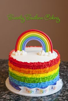 Rainbow Cake, Buttercream ruffles