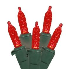 Vickerman Red LED M5 Mini Christmas Lights with Green Wire, Set of 70 >>> You can find more details at