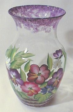 Painting Glass Jars, Painted Glass Bottles, Glass Painting Designs, Painted Vases, Painted Wine Glasses, Bottle Painting, Glass Art, Hand Painted, Vase Crafts