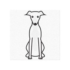 Shop Whippet Dog Cartoon Canvas Print created by DogBreedCartoon. Perro Whippet, Italian Whippet, Dog Outline, Cartoon Painting, Dog Logo, Dog Illustration, Cartoon Dog, Whippets, Dog Tattoos