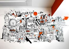 Nike London HQ redesign by Rosie Lee - 'Welcome To London' mural by Chris Martin. Image via Dezeen. Office Mural, Office Artwork, Office Walls, Office Interior Design, Office Interiors, Art Mural, Wall Murals, Wall Art, Nike Office