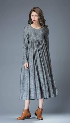 Casual Gray Dress – Comfortable Linen Loose-Fitting Long Sleeved Everday Marl Grey Midi-Length Woman's Dress Casual Gray Dress Comfortable Linen Loose-Fitting Long - My Accessories World Women's Dresses, Linen Dresses, Dresses For Teens, Trendy Dresses, Fashion Dresses, Spring Dresses Casual, Dress Casual, Casual Summer, Classy Dress