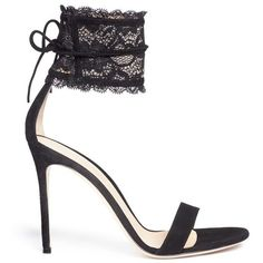 GIANVITO ROSSI Lace cuff suede sandals (11.276.915 IDR) ❤ liked on Polyvore featuring shoes, sandals, heels, suede sandals, lacy shoes, gianvito rossi sandals, party shoes and cuffed sandals