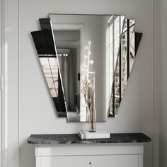Black mirror made in classical Art Deco style. fantail style wall mirror by color and mirror, made for private homeowner in Chicago. Mirror Decor Living Room, Art Deco Living Room, Home Decor Mirrors, Home Decor Bedroom, Whimsical Bedroom, Mirrored Side Tables, Contemporary Wall Mirrors, Contemporary Design, Flooring Sale