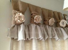 Burlap wide ruched tabs curtain- tea dyed rosette- off white burlap Burlap Drop cloth Wide ruched tabs curtains- Tea dyed rosette Burlap Curtains Tea dyedDecorative tabbed curtainSimilar products like Kitchen Ruffle Curtains, Tab Curtains, Drop Cloth Curtains, Burlap Curtains, Kitchen Curtains, Scarf Curtains, French Curtains, Yellow Curtains, Boho Curtains
